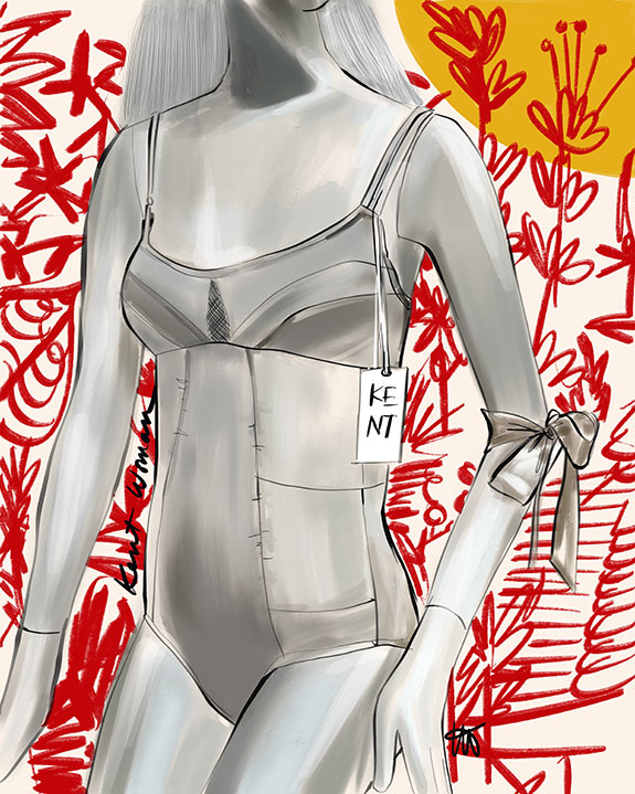 The Bodysuit from KentWoman illustrated by Tina Wilson on Lingerie Briefs
