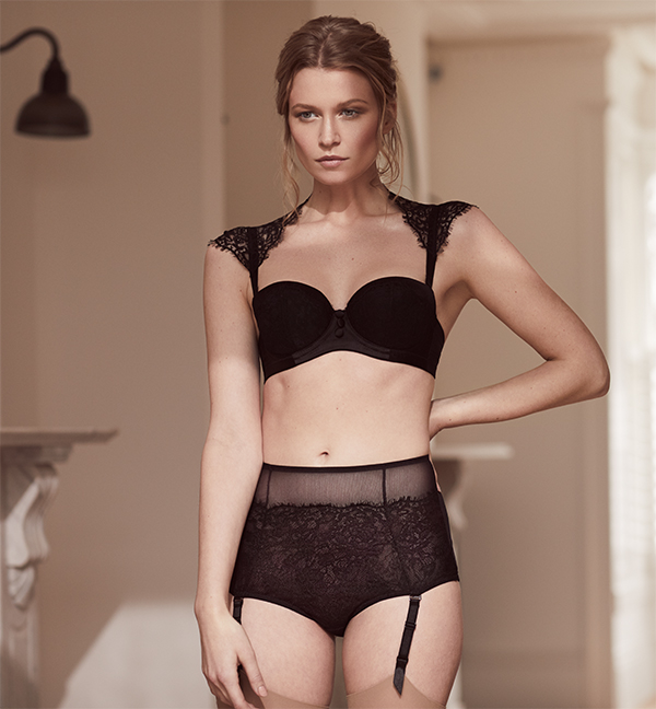 Katherine Hamilton's not-yet-released Abbie strapless bra with matching high waist suspender brief featured on Lingerie Briefs