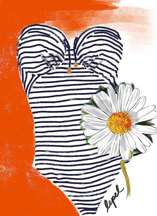 Lepel swimwear illustrated by Tina Wilson for Lingerie Briefs