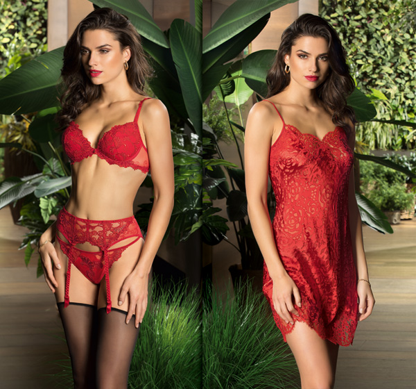 "Fall 2018 - Lise Charmel Dressing Floral in ruby shade ""Dressing Solaire"" featured on Lingerie Briefs"