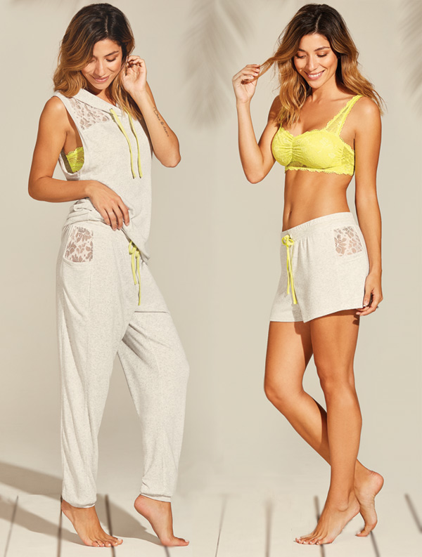 Fleur't With Me's Catalina Islands sleeveless hoodie, joggers and shorts featured on Lingerie Briefs