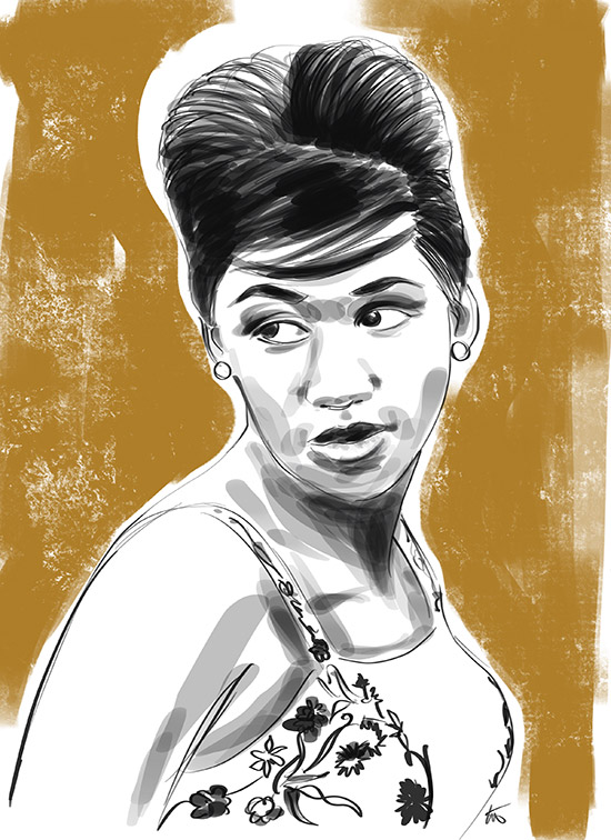 illustration of Aretha Franklin by Tina Wilson on Lingerie Briefs