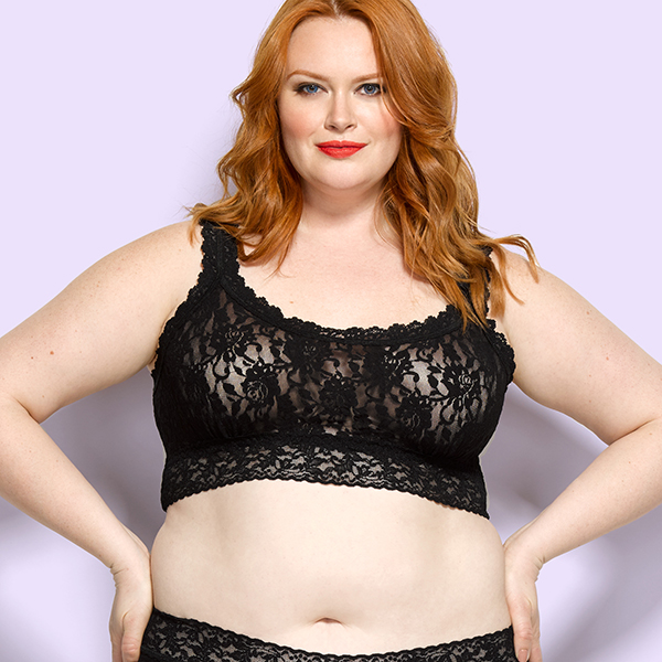 Hanky Panky Plus size lace bralette on Lingerie Briefs