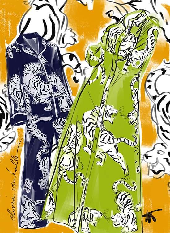 Fashion Illustration by Tina Wilsonof Oivia von Halle pajamas exclusively for Lingerie Briefs