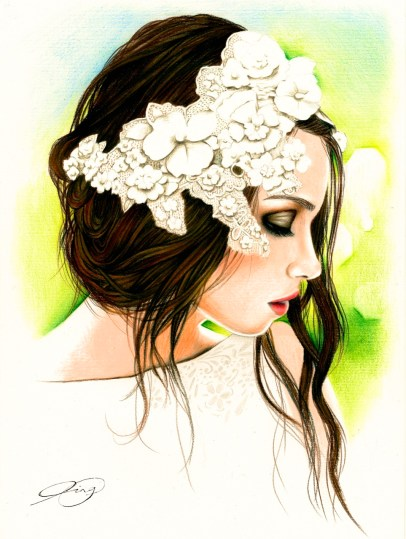 Spring Portrait Drawing by Ling McGregor
