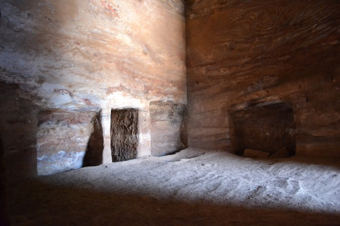 Inside one of the dwellings