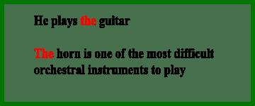 Артикли с музыкальными инструментами, как с классом