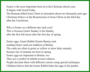 Пасхальные традиции Великобритании - текст для чтения на английском средней сложности