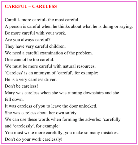 Топики по темам: careful - careless