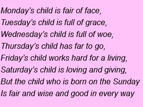 Дни недели на английском Monday Child