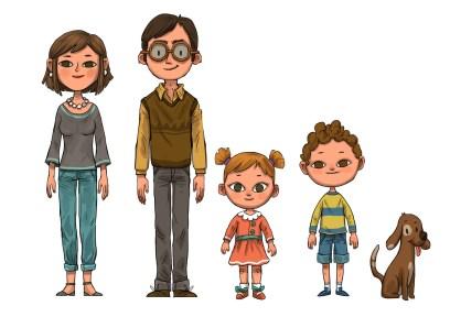 о семье на английском - счастливая семья из 4 человек с собакой