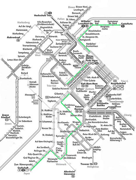 Die 5 im Liniennetz des VRT