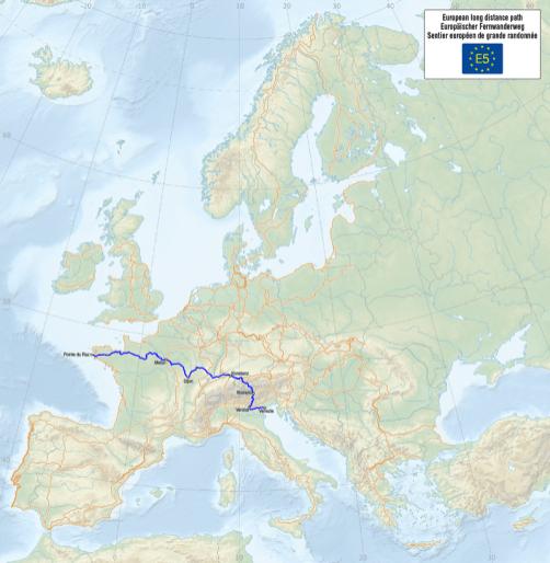 Von Frankreich bis nach Verona - die gesamte Strecke. Quelle: Wikipedia, Autor: Maximilian Dörrbecker