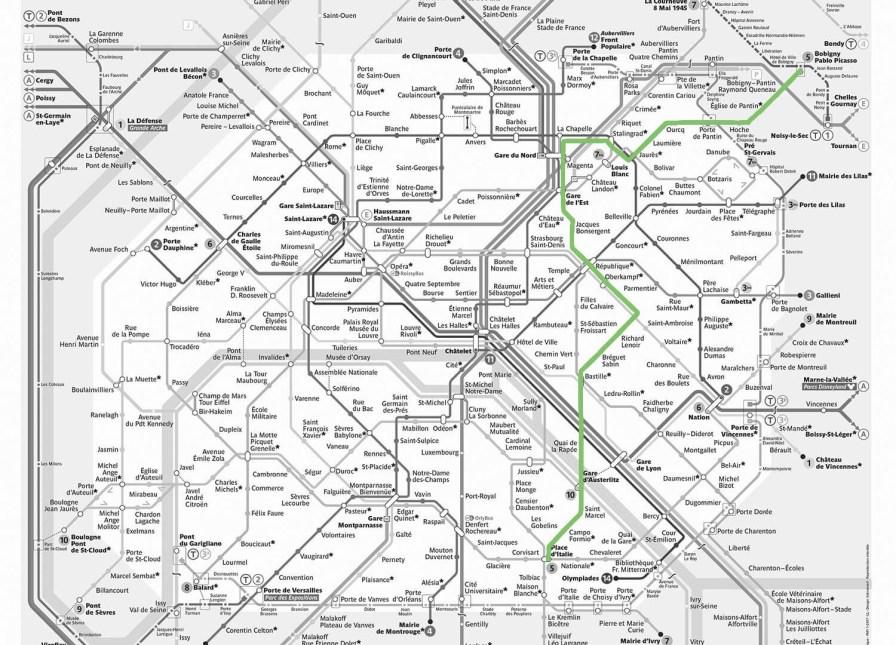 Plan der Metro in Paris, grün die Linie 5