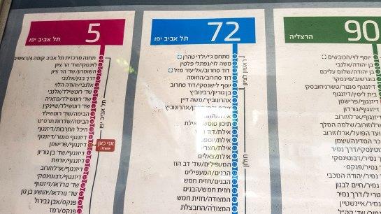Bushatestelle Tel Aviv - Aushang hebräisch.