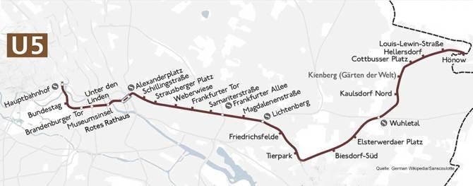 Streckenverlauf U5 Berlin