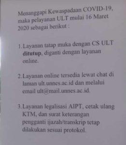 pemberitahuan pelayanan ULT