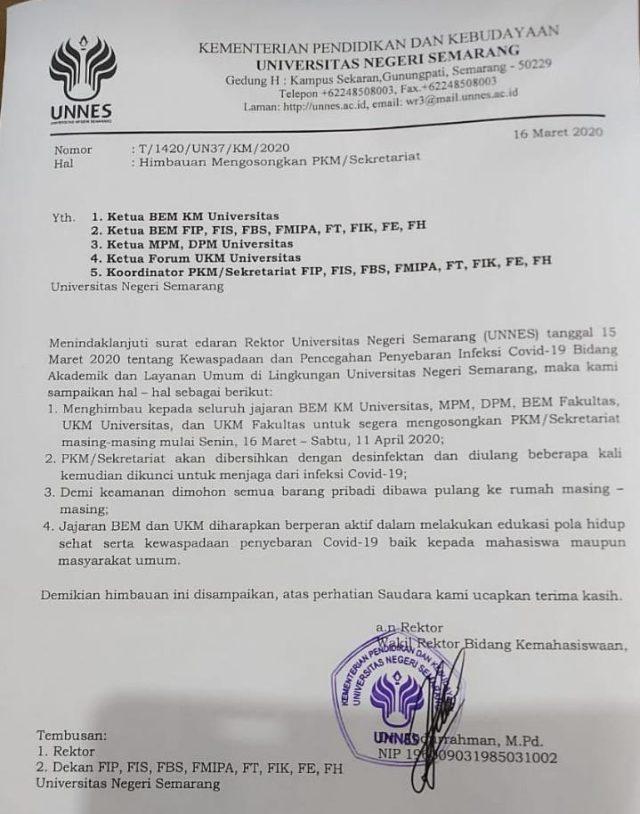 Surat edaran untuk mengosongkat UKM/PKM/Sekretariat