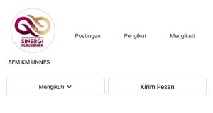 Tangkapan layar laman akun instagram BEM KM Unnes yang diretas