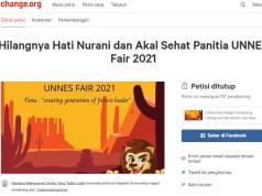 """Petisi """"Hilangnya Hati Nurani dan Akal Sehat Panitia Unnes Fair 2021"""", Sabtu (11/9). [Dok BP2M]"""