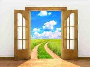 Bild im Beitrag gewaltfreie Kommunikation: offene Tür zum Weg auf einer grünen Wiese