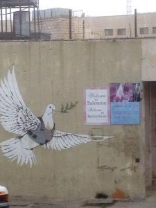 Reise nach Jerusalem: Bild einer Friedenstaube im Fadenkreuz