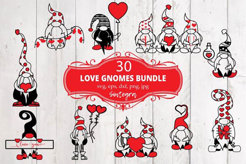 Download 30 Valentine Love Gnome SVG Graphics Craft Design ...