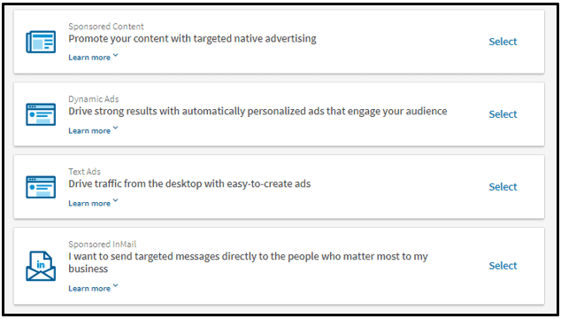 four types of LinkedIn ads
