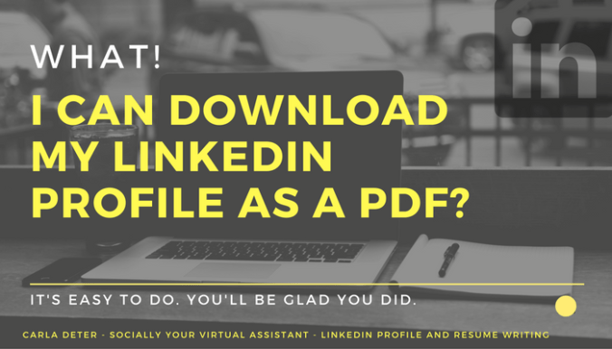 Download your linkedin profile data as a PDF