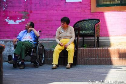 Hanging on corners. Shanghai, China - 2013.