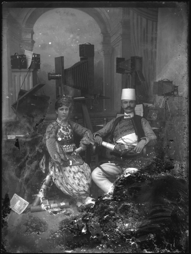Self-portrait of Kel Marubi with his Wife in the Studio, no date, Silver gelatin dry process on glass.