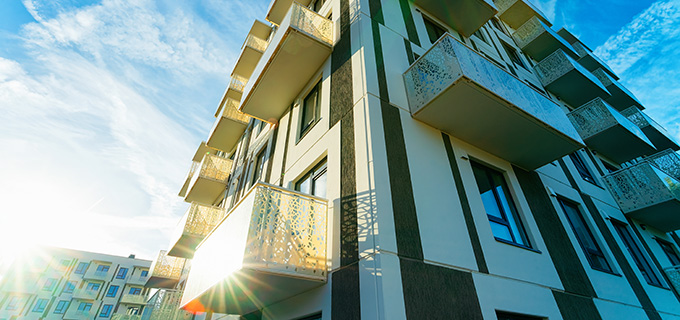 Sun light and Apartment house home residential building architecture