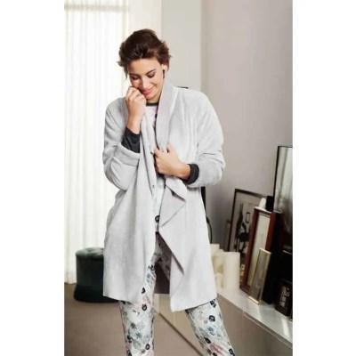 badjas-fleece-grijs-nachtkleding