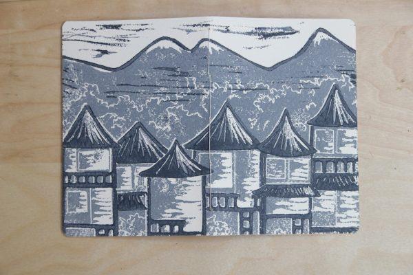 carnet Matin Calme linogravure (couverture entière) | LinoLino | Créations artisanales