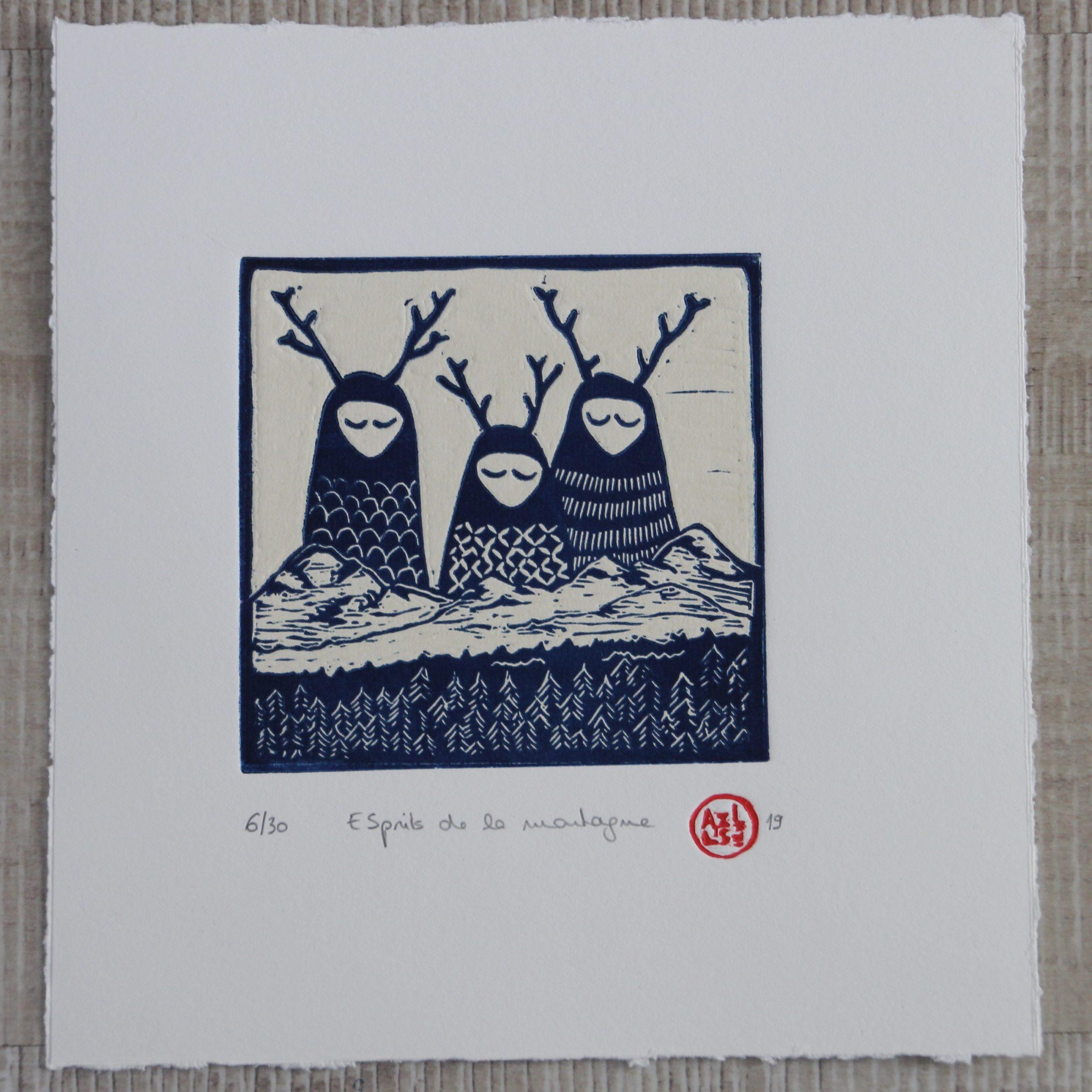 LinoLino | Linogravure et créations à partir d'impressions artisanales | Chambéry, France | Linogravure Petits esprits de la montagne