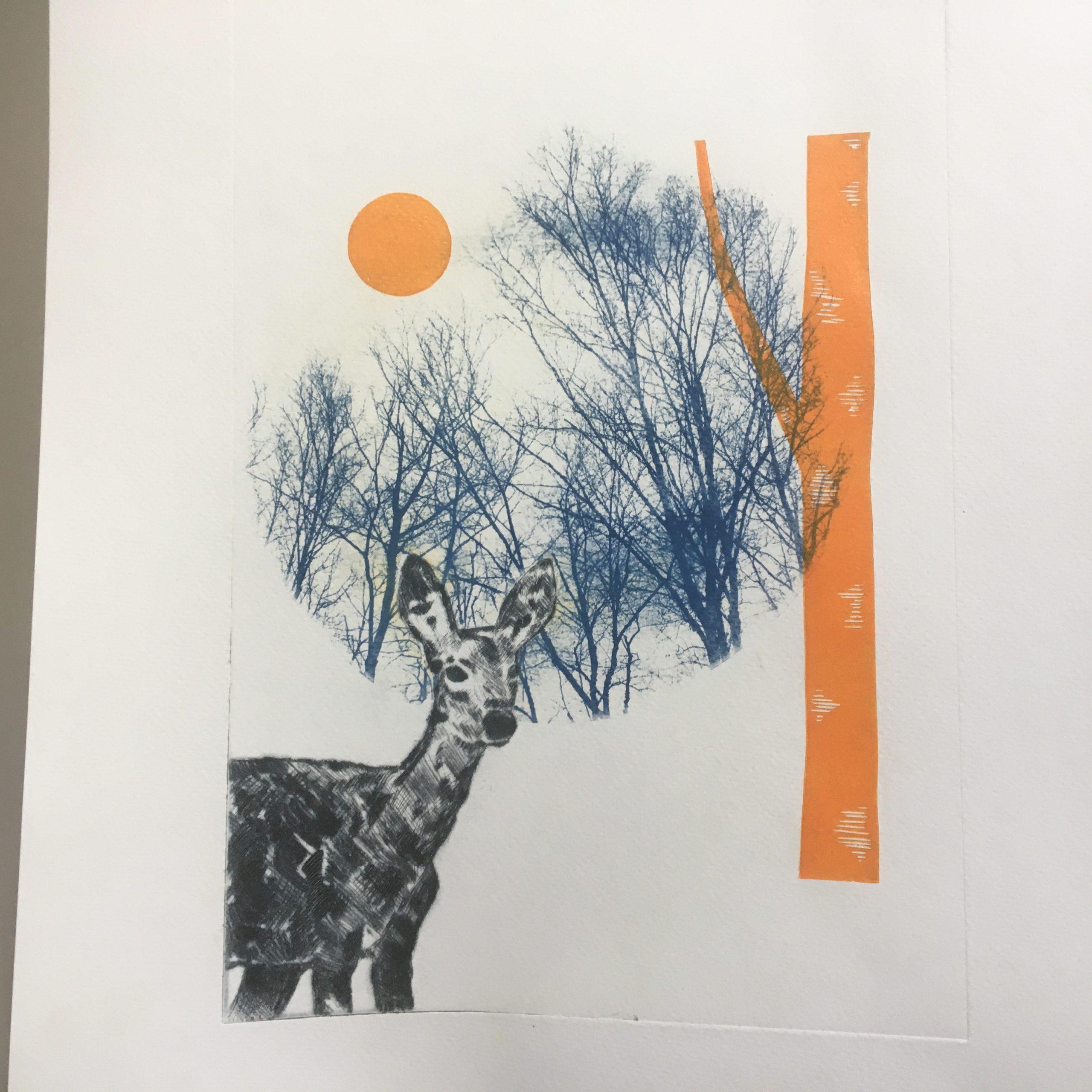 LinoLino | Linogravure et créations à partir d'impressions artisanales | Chambéry, France | Cyanotype et gravure pointe sèche biche et orange