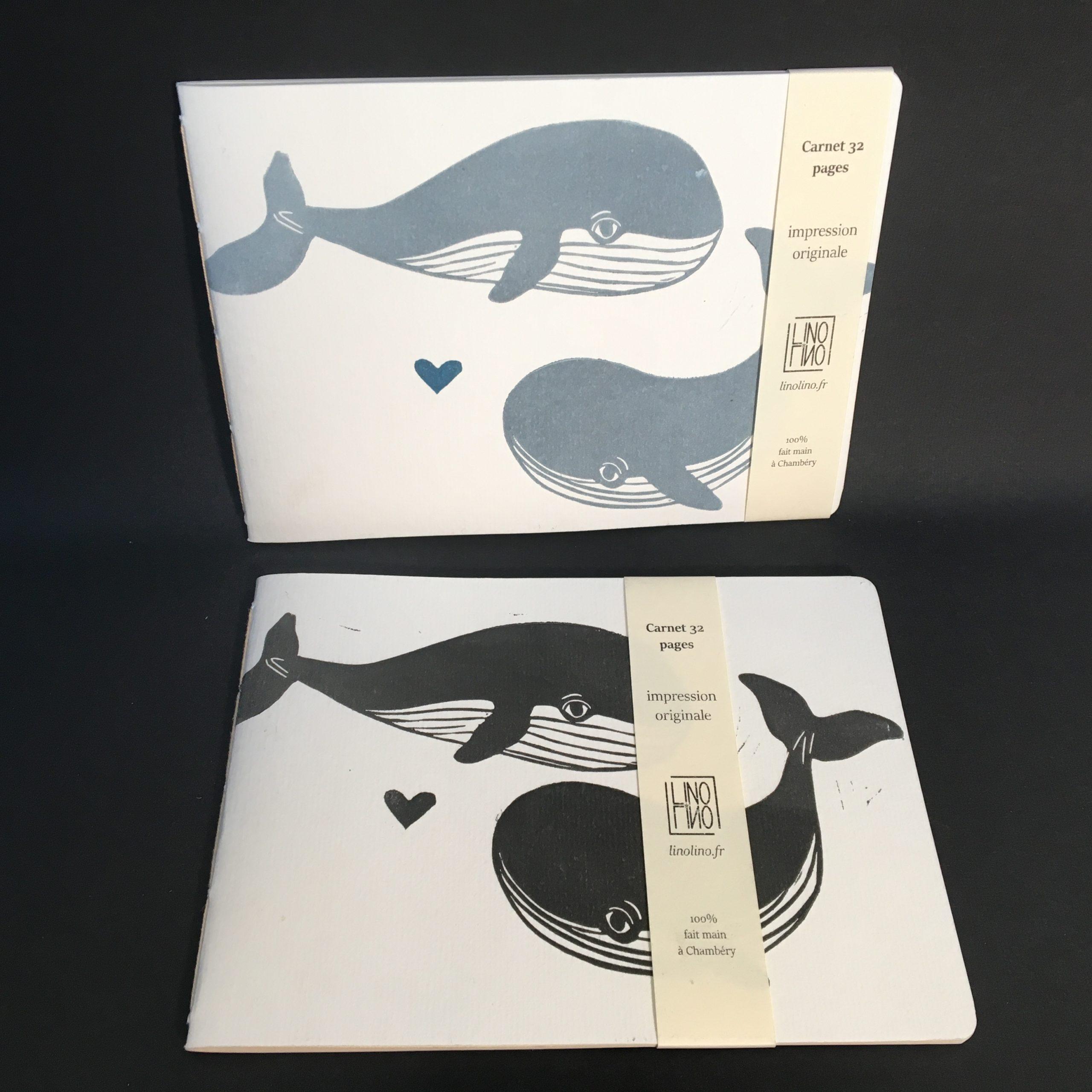 LinoLino | Linogravure et créations à partir d'impressions artisanales | Chambéry, France | Carnets linogravure reliure cousue baleines