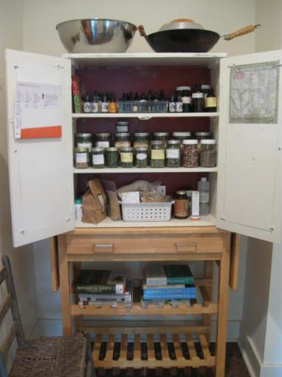 Take a gander at that oil/dried herb/tincture cabinet.