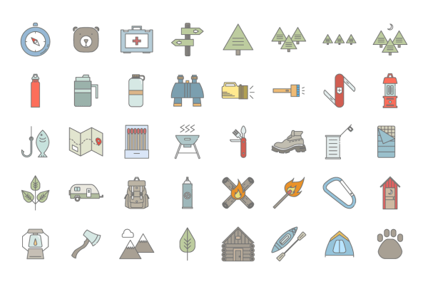 Camp & Trail Icon Set 8