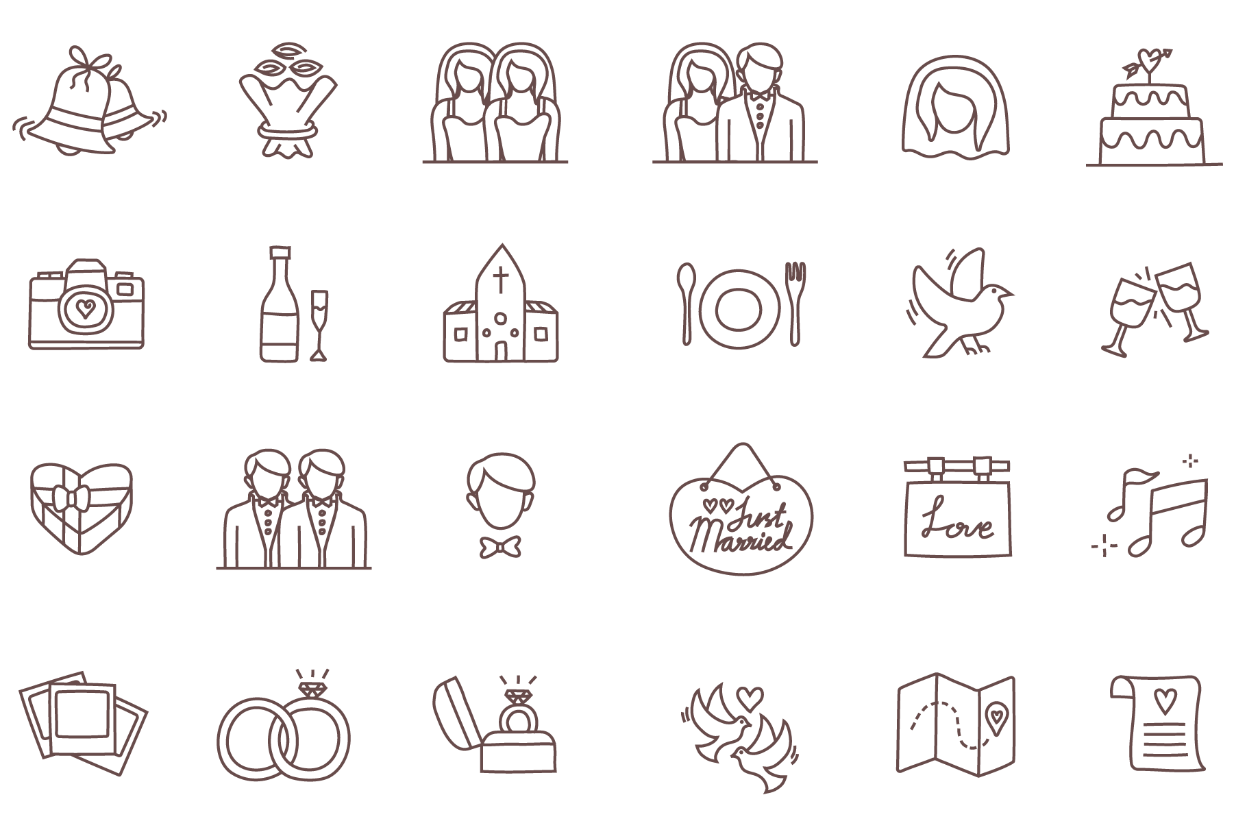 24 Free Wedding Icons by Temploola – Linseed Studio / Premium and