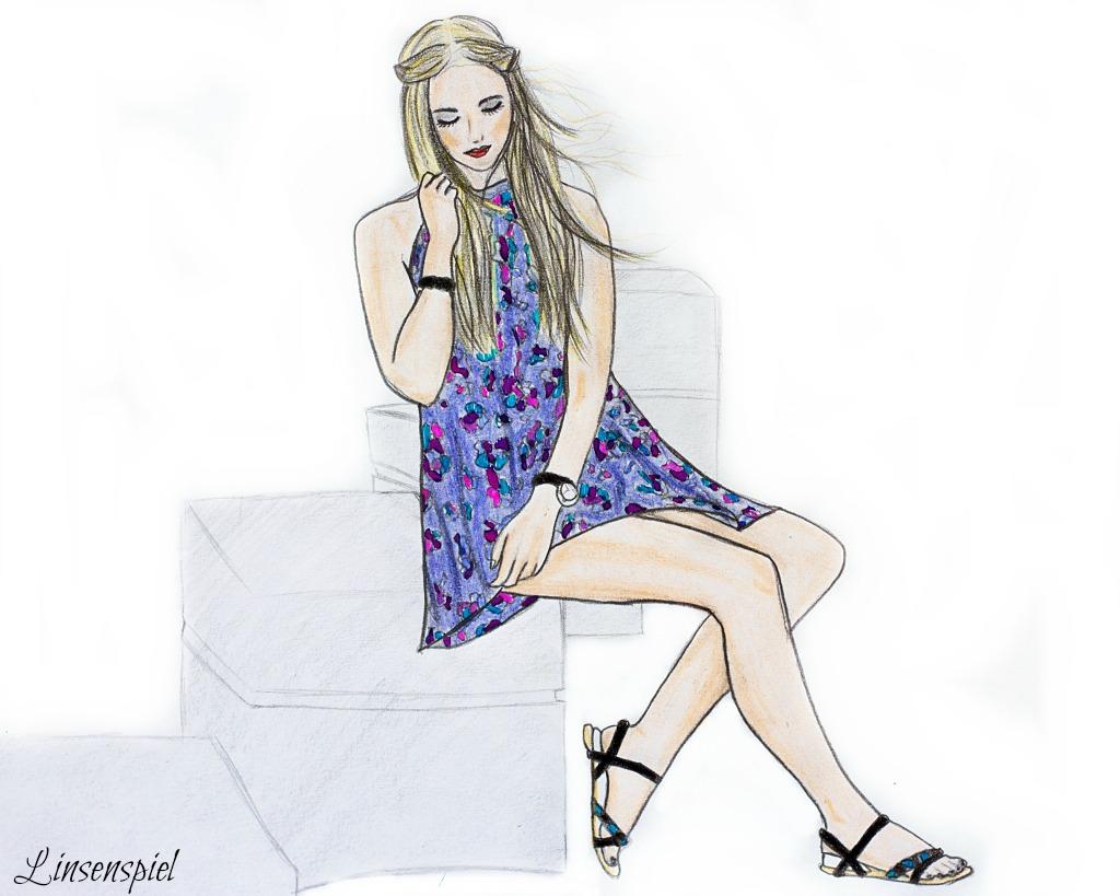 Zeichnung Outfit mit Sommerkleid und Sandalen von Rosarot und Traffic People
