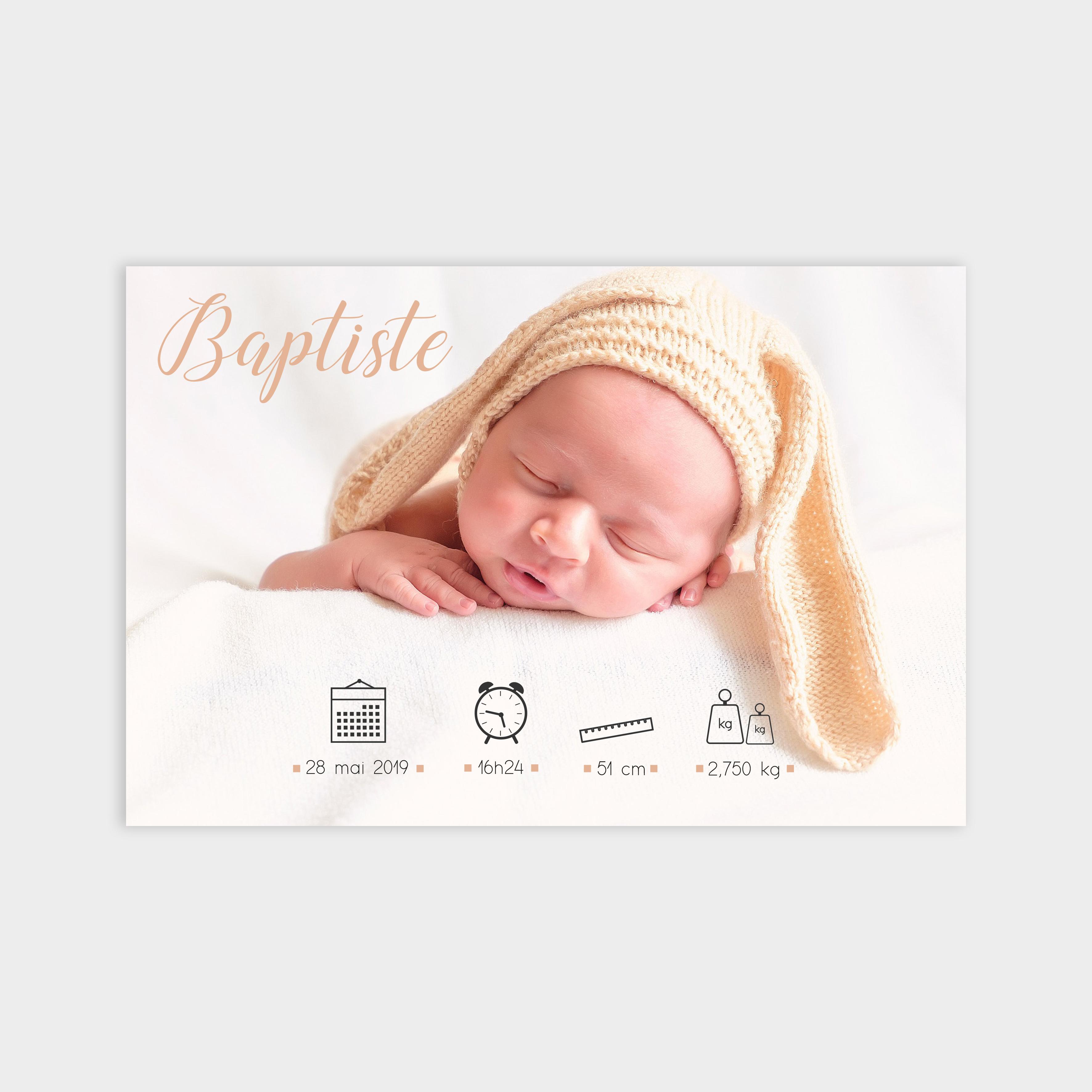 Faire-part de naissance Bonheur crème