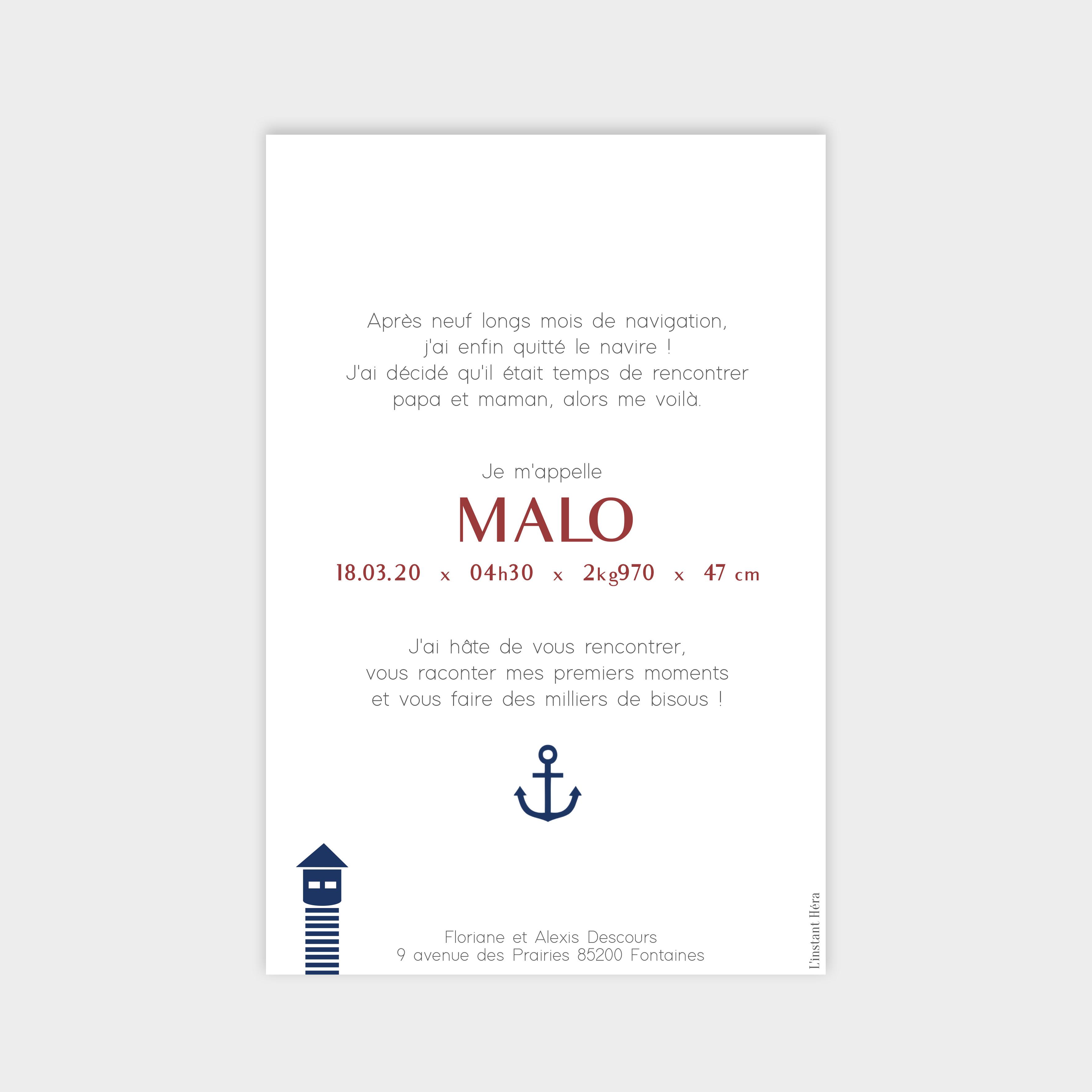 Faire-part de naissance Petit matelot