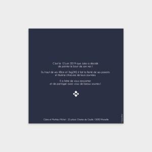 Faire-part de naissance Saphir bleu nuit
