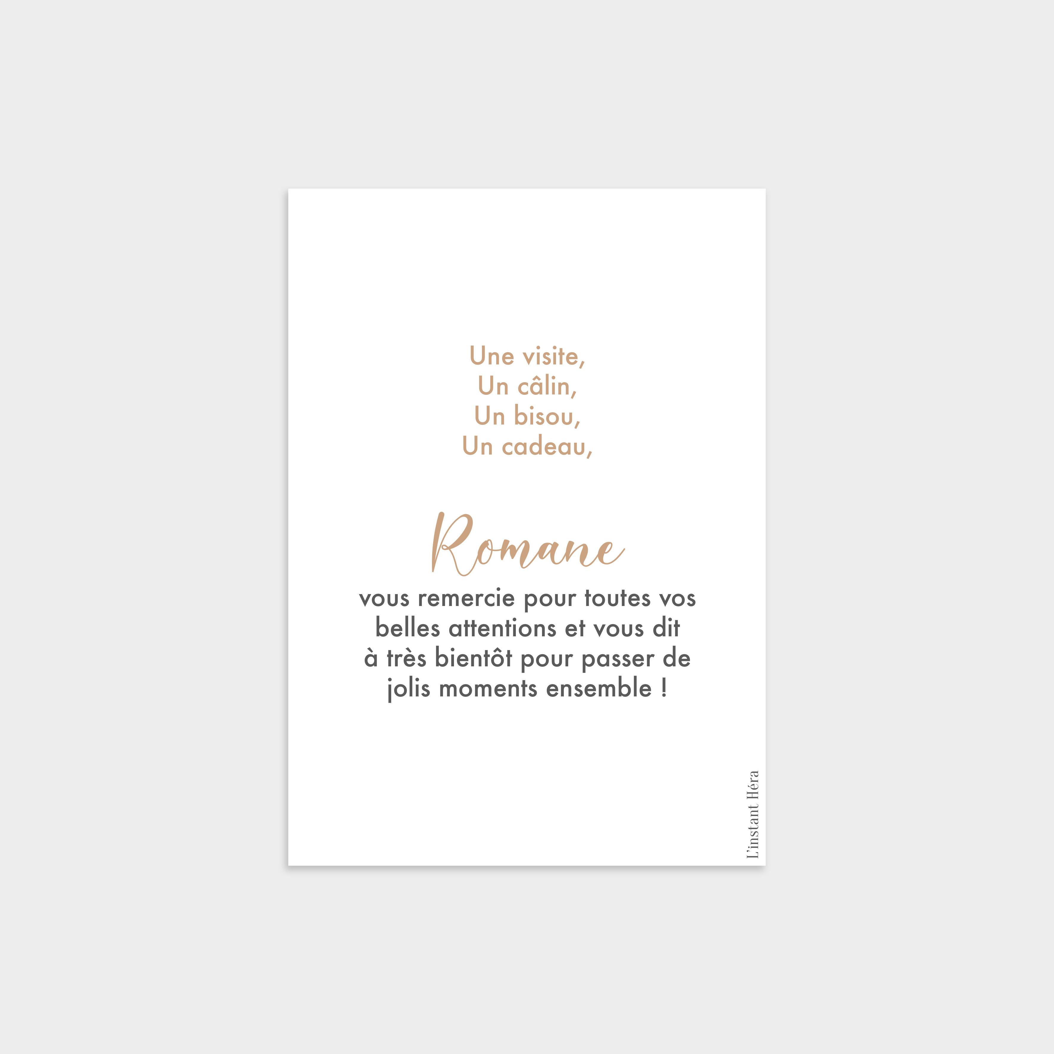 Carte de remerciement Caresse Vanille