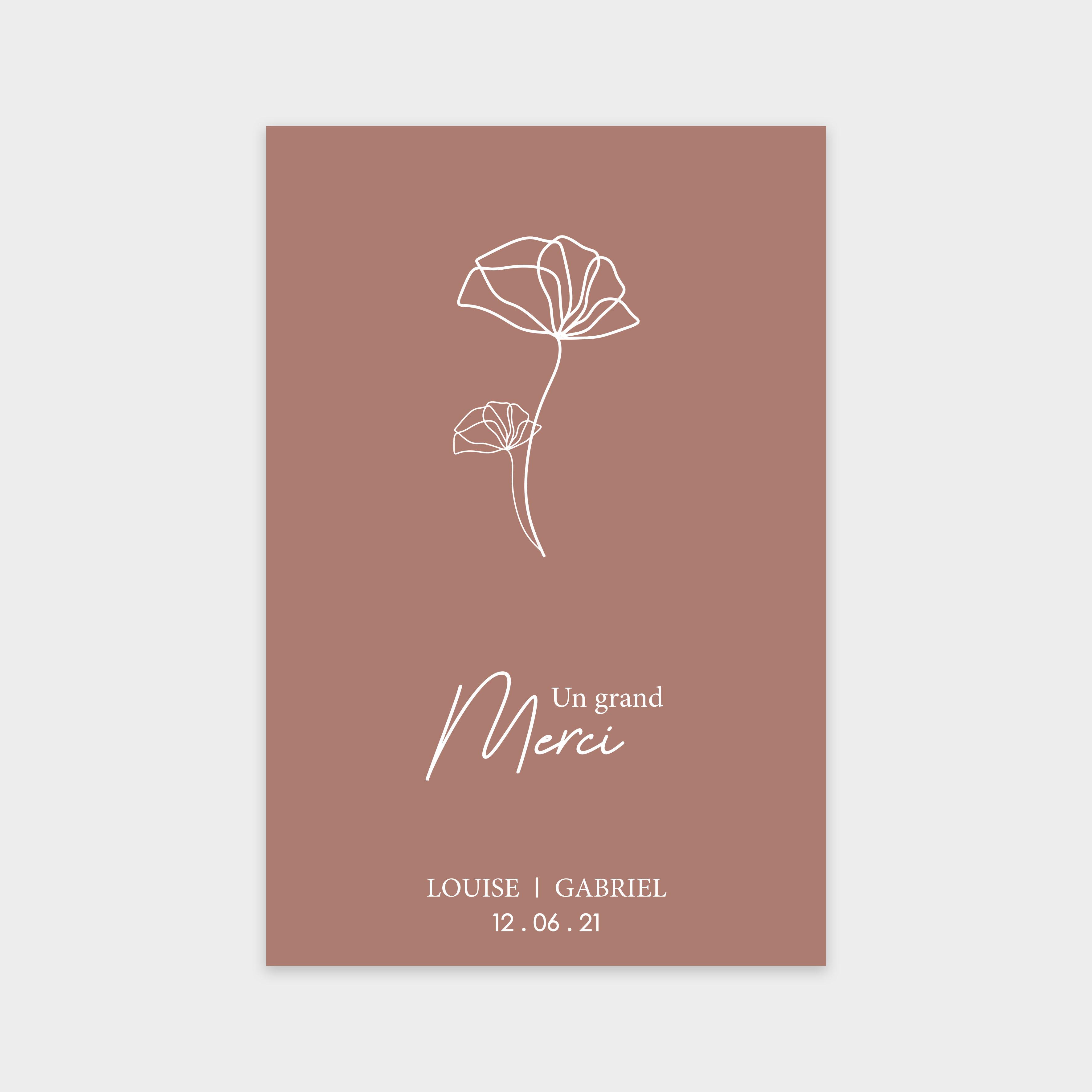 Carte de remerciement Amour rose cerisier