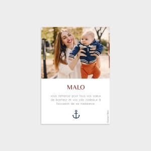 Carte de remerciement Petit matelot