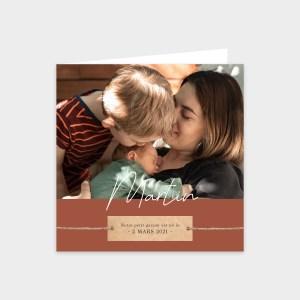 Faire-part de naissance Petite frimousse Rouge brique