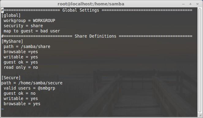 Create new samba share
