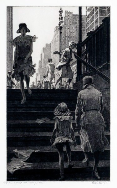 Subway Steps (1930 - Drypoint, 35 x 19.1 cm)